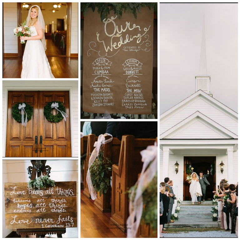 wedding ceremony old white church
