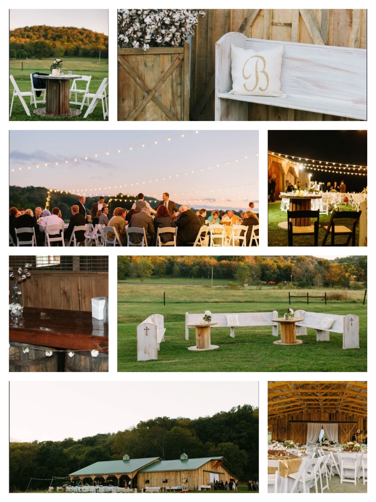 outdoor wedding reception white benches string lights