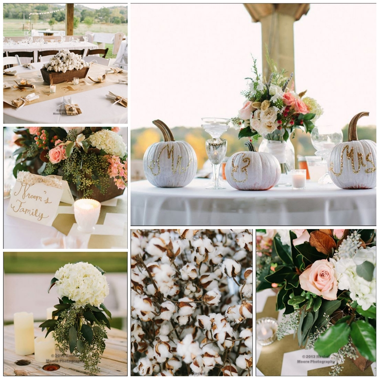 southern rustic wedding reception centerpiece cotton