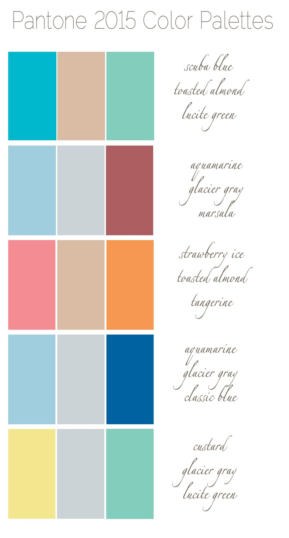5 fresh fun color palettes for 2015 nashville wedding for Best wedding color combinations