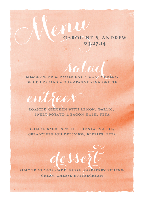 Stationery Design - Watercolor Menu:  J Amber Creative