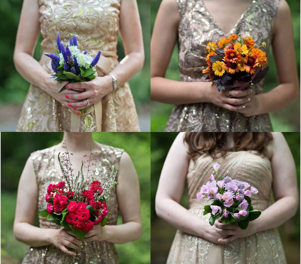 bridesmaids gold dresses wildflowers