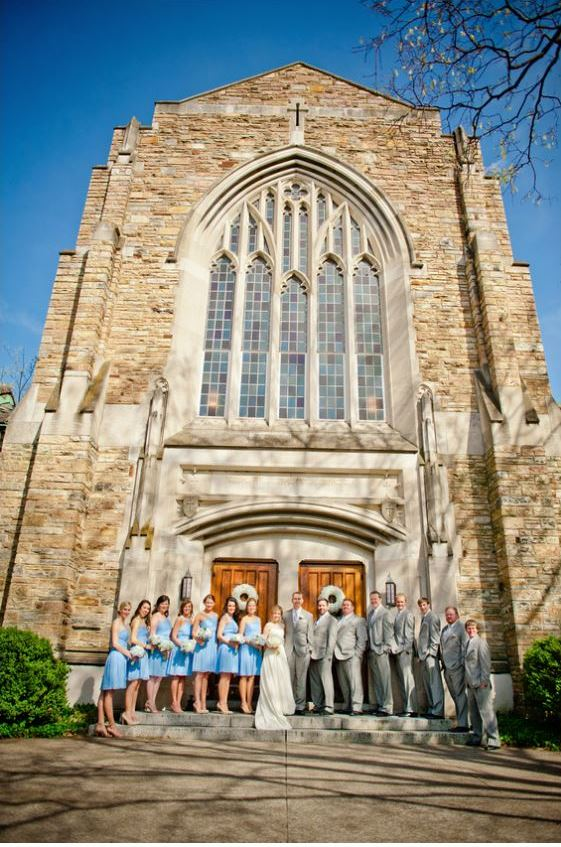 bridal party in front of Wightman Chapel Nashville