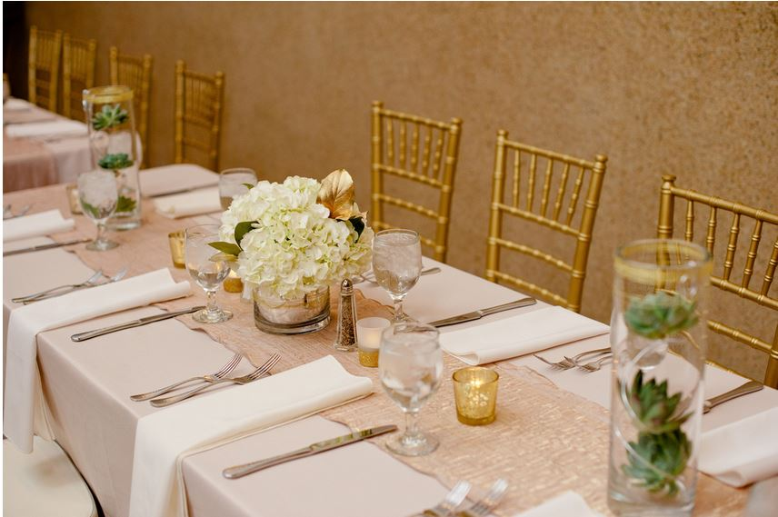 reception table gold chiavari chairs