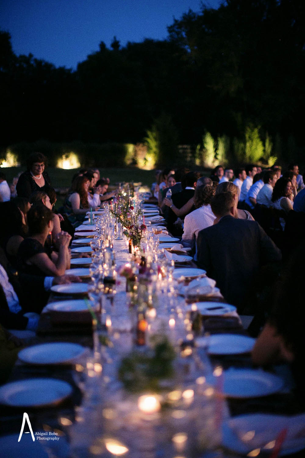 romantic wedding dinner reception under the stars outside night