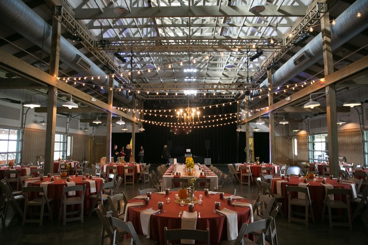fall reception with string lighting