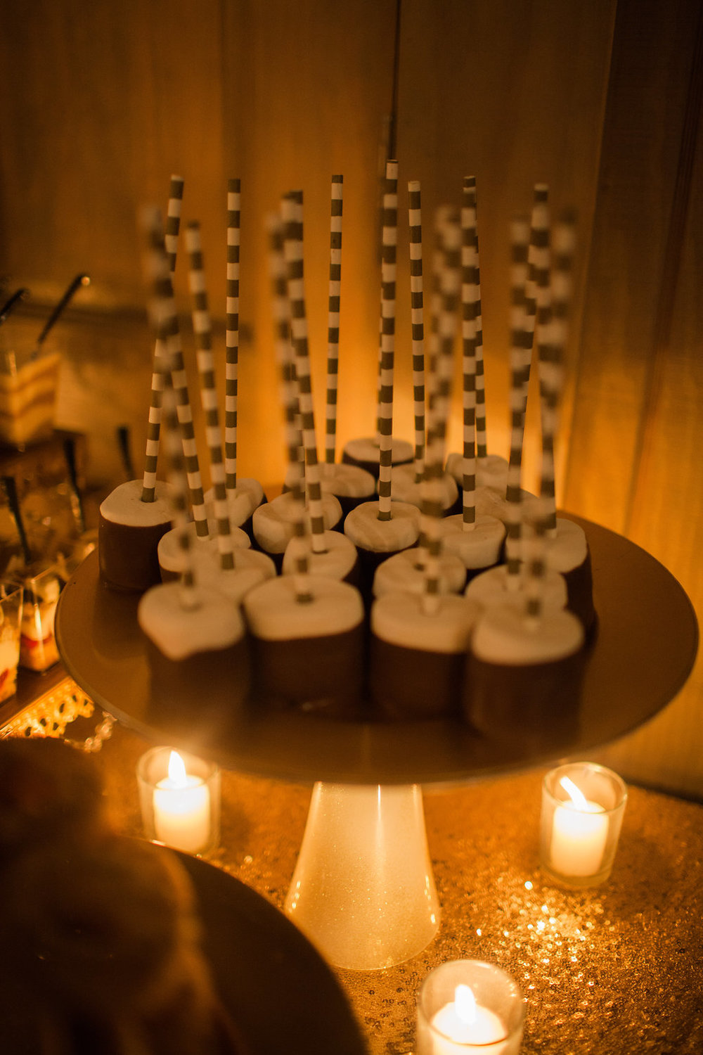dessert table cake pops candles
