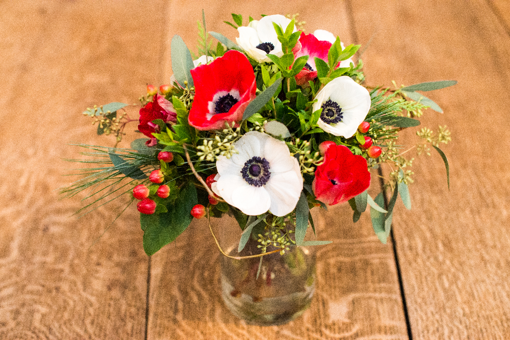 holiday anemone bouquet