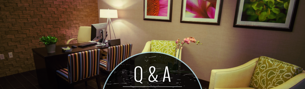 urban retreat lounge with question and answer illustration
