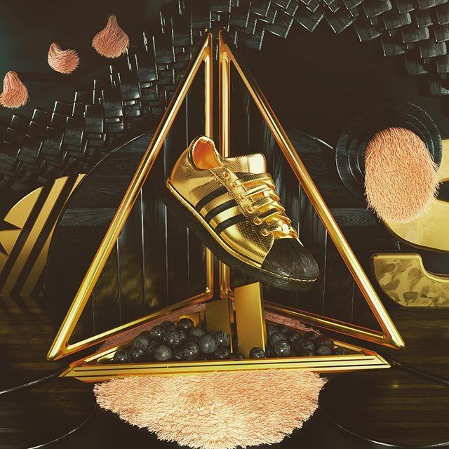 Black and gold and pink furry stuff gonna be bouncing around your brains yooooooo #c4d #cinema4d #octanerender #addidas #cinema4dart