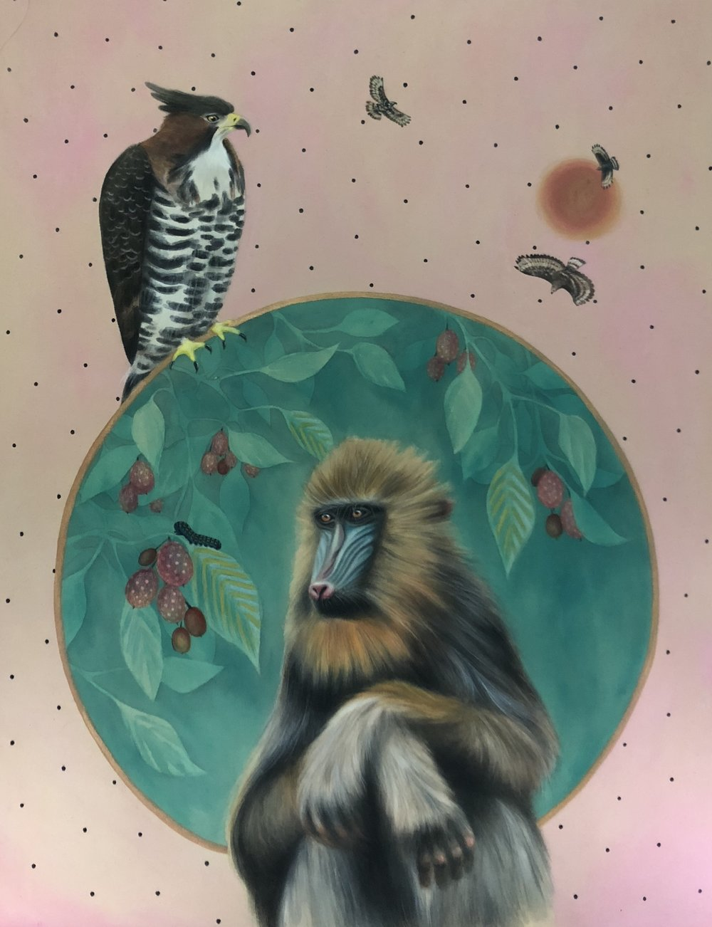 """Melancholy Mandrill"" 28X38 inches"