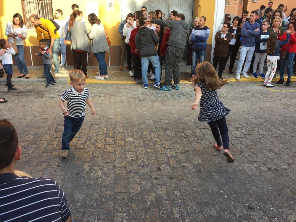 Children provided pre-procession entertainment.
