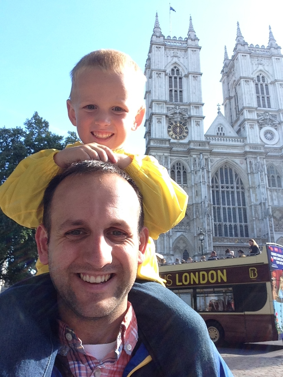 Henry on my shoulders outside Westminster Abbey