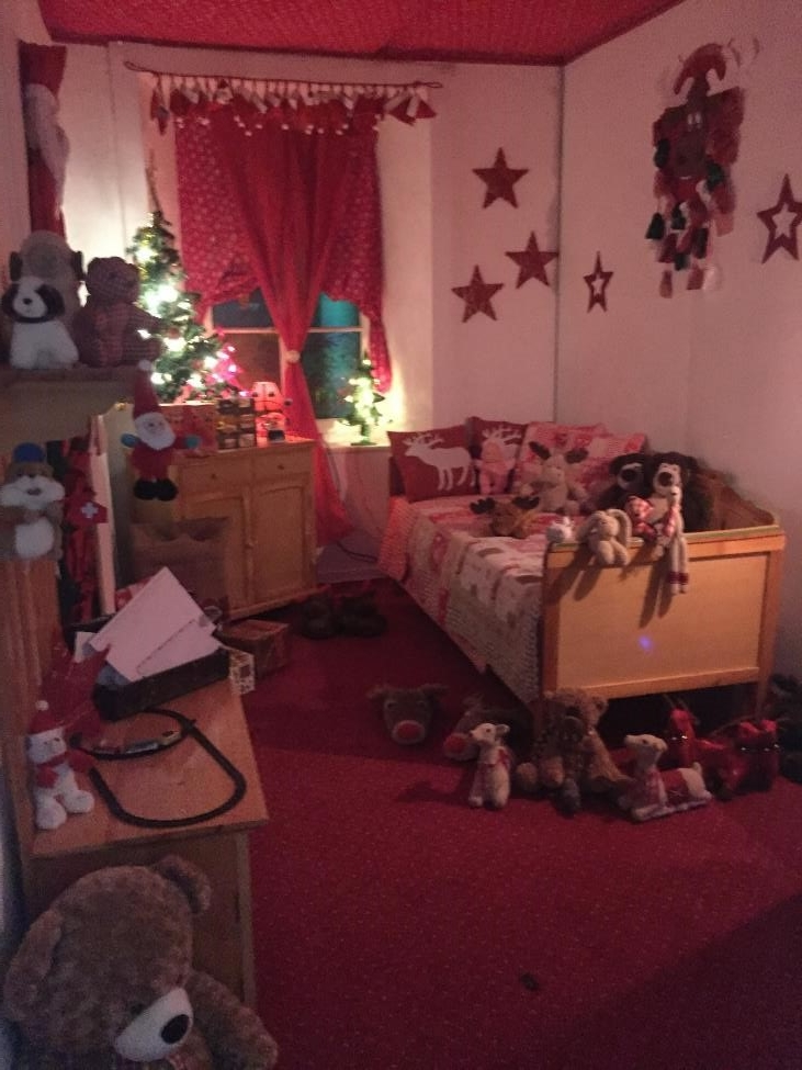 Santa's room in this hotel made so much sense to the kids. He doesn't live here all of the time, so all he needs is a tiny room. They were just confused by all of the stuffed animals on his bed.
