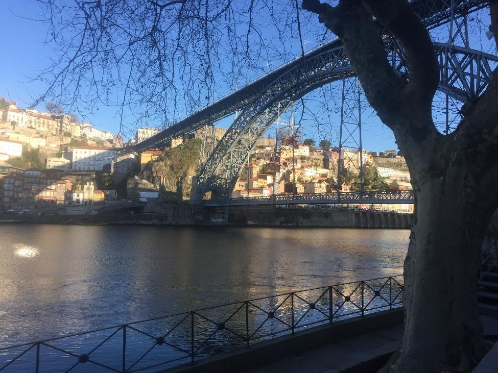 To get from our neighborhood to Porto proper, we just took a quick stroll past the port cellars and across this bridge. I was fine walking on the lower level, and even took enough steps on the upper level to get a glimpse of the view from on high.