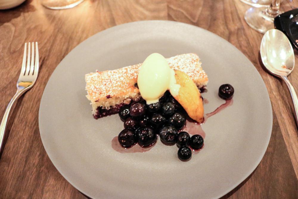 Blueberry Pound Cake,  roasted peaches, corn ice cream