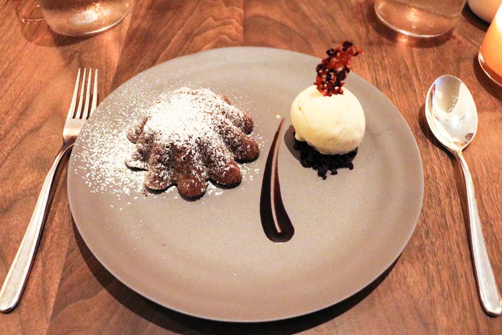 Jean-Georges Warm Chocolate Cake,  vanilla bean ice cream