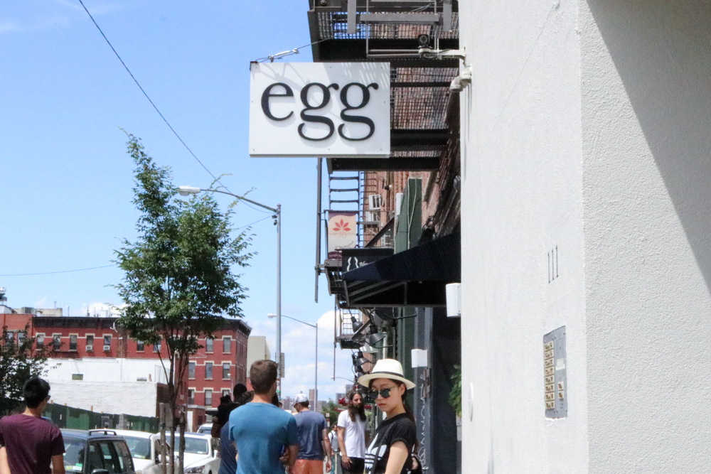 Waiting in line for late breakfast at  Egg Restaurant