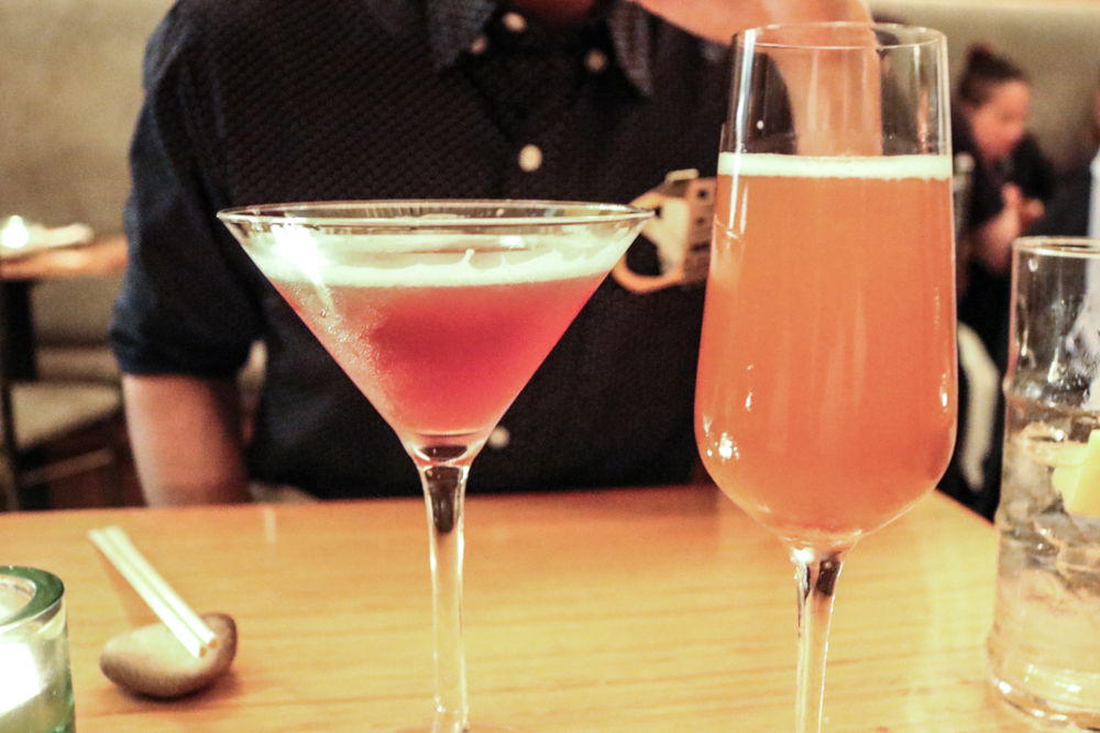 Sake and Shochu Cocktails: (left) Summer Moon, Sake, Black Currant Cassis and Fresh Lime (right) Spanish 75, Cava, Pommeau and Lemon