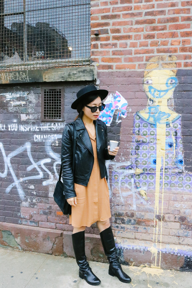 Urbanoutfitters Hat, SOIA & KYO Leather Jacket,  Greylin Shirt Dress ,  French Connection Boots ,  Everlane Petra Crossbody Black