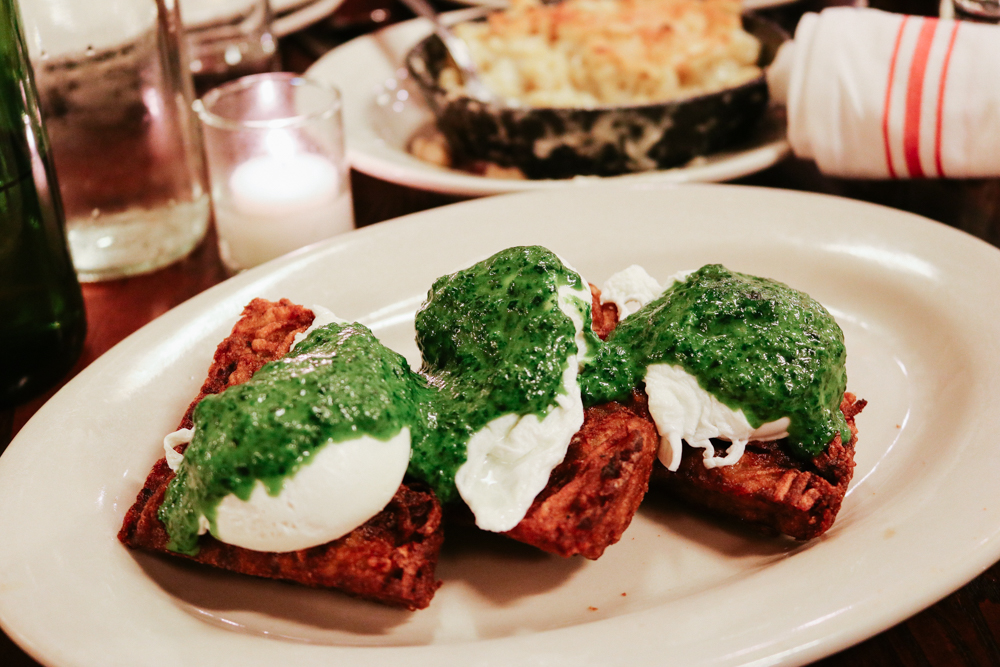 Potato Waffle Benedict, creamed spinach, parmesan, poached eggs