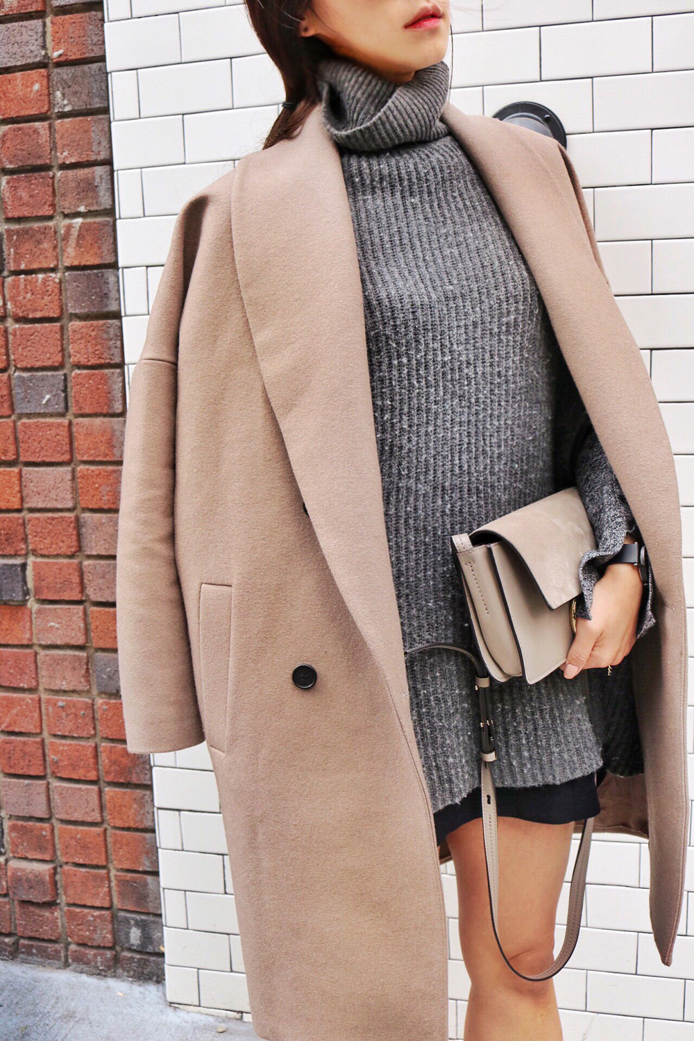 All Saints Coat, Michael Kors Sweater Poncho, Urbanoutfitters Skirt, Chloé Bag