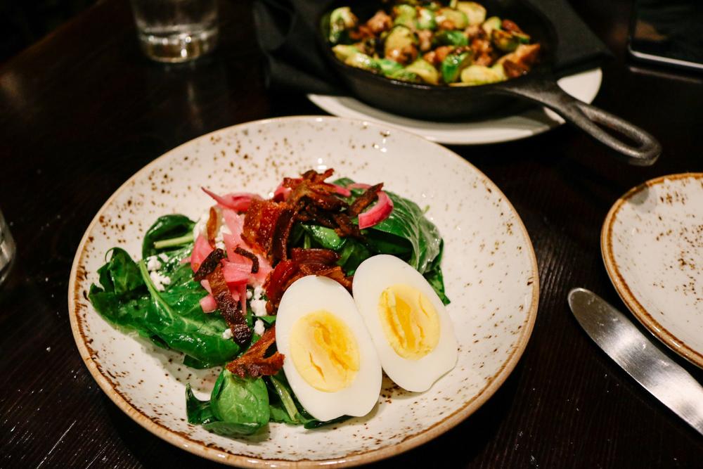 Warm Spinach Salad,    Fingerling Potato, Pickled Red Onion, Soft Egg, Feta, Bacon Vinaigrette