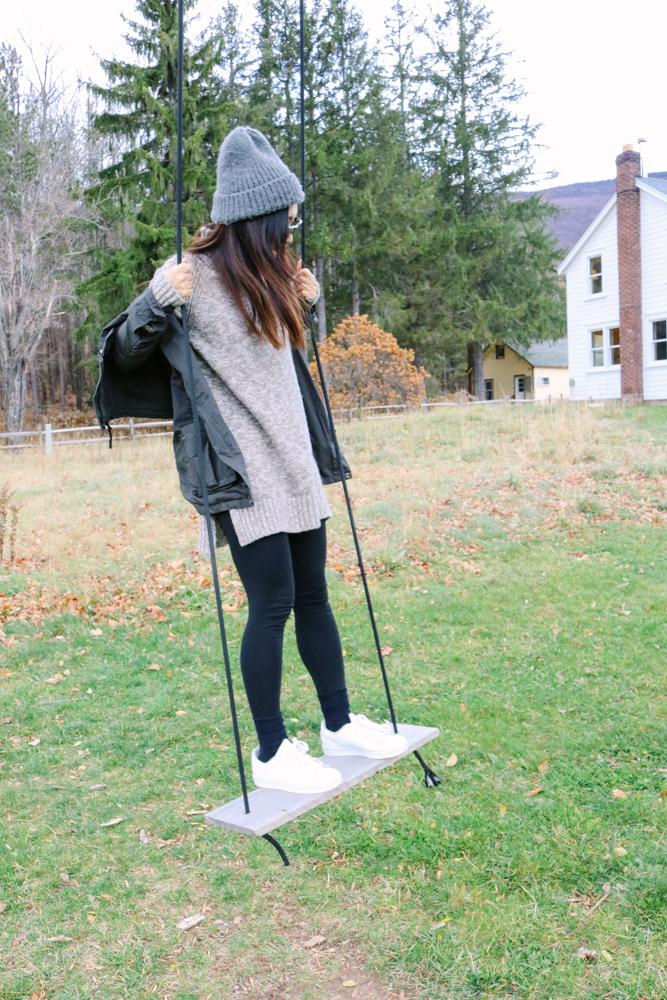 Topshop Beanie, Zara Sweater, Unplugged Jacket, Black Leggings, Adidas Original Sneakers