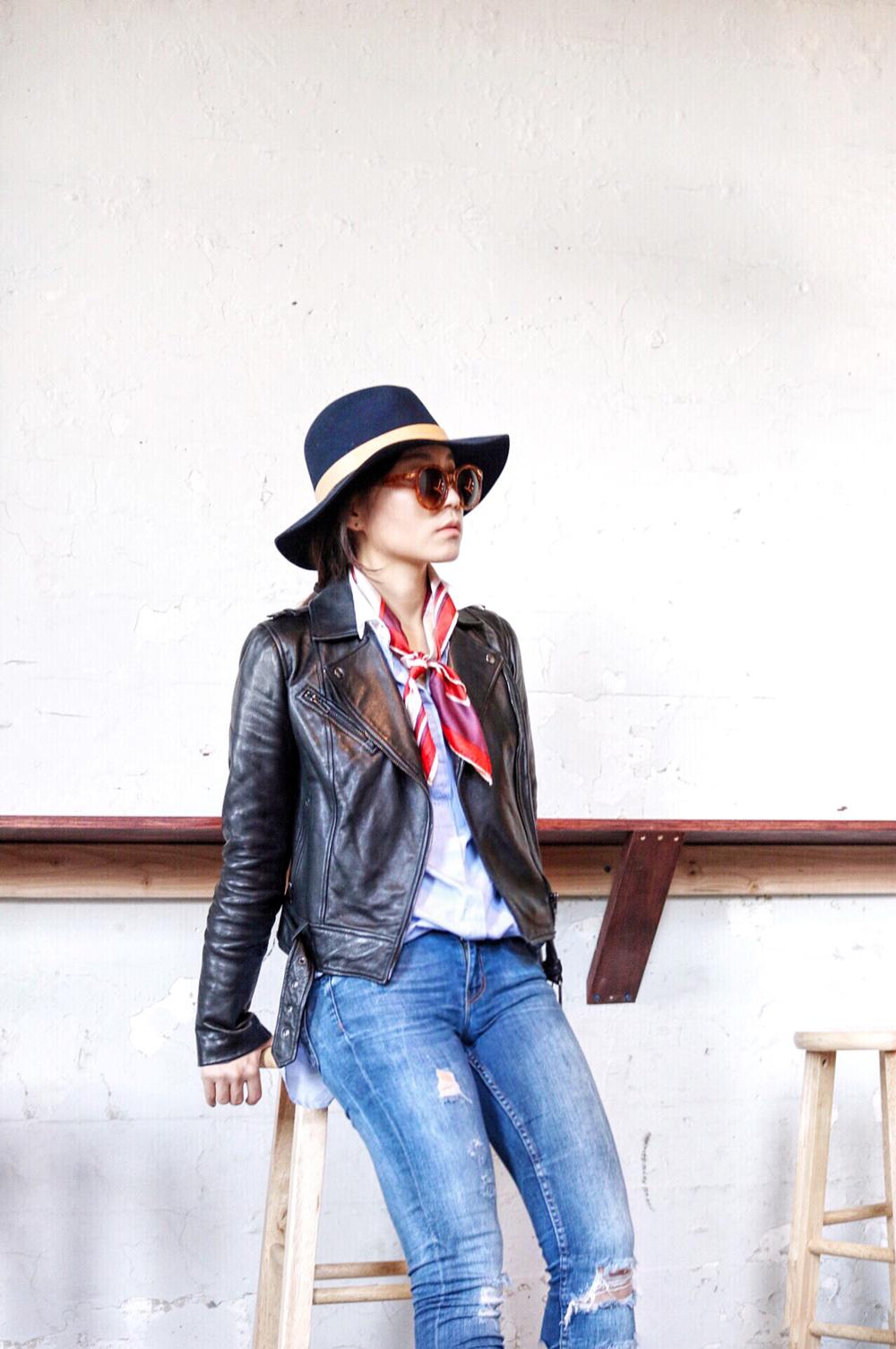 Janessa Leone Hat, Urbanoutfitters Sunglasses, Zara Shirt, Zara Jeans, Soia & Kyo Leather Jacket, Vintage Scarf