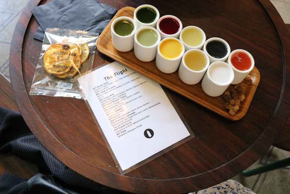 """The Flight"" Juice Sampler at  Verve Coffee Roasters"