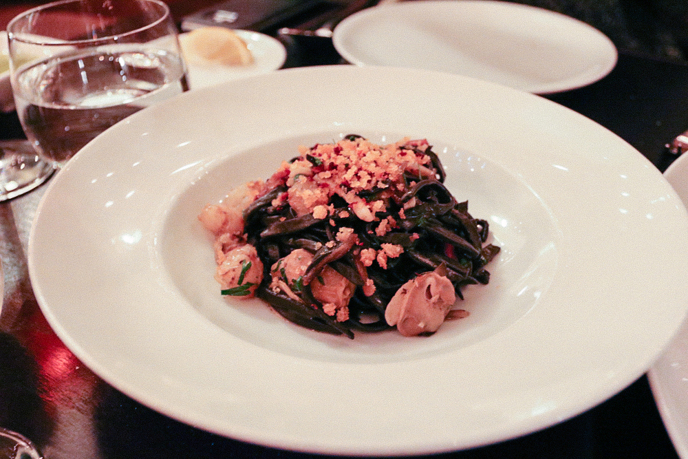 BLACK TAGLIOLINI,  seafood ragout, pancetta & herbed bread crumbs