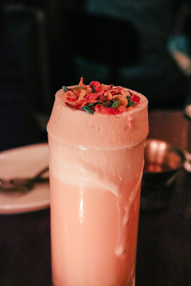 Bedrock Fizz,  Old Tom Gin, Fruity Pebble Aperol, Apricot Brandy, Citrus, Egg White, Cream