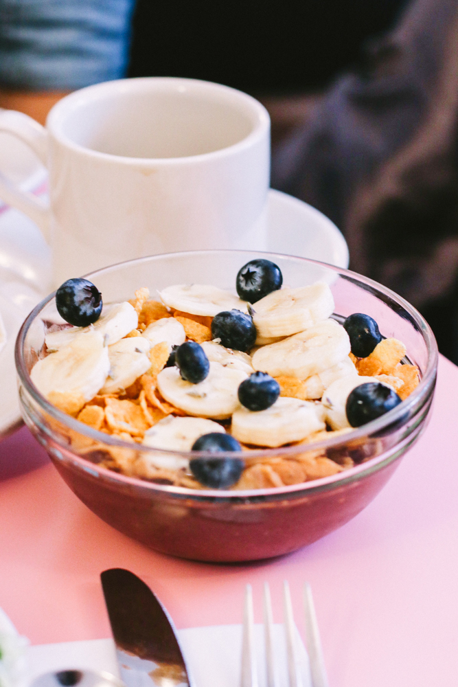 Lavender Acai Bowl,  blueberry / banana / coconut milk / cornflakes