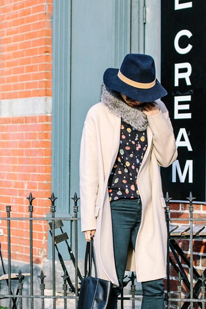 Janessa Leone Hat, Frr Fox Fur Scarf, Zara Shirt, W Concept Coat, J Brand Jean