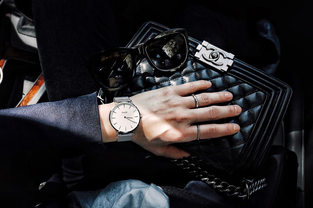 The Row Sunglasses, Cluse Watch, Tiffany rings, Chanel Bag