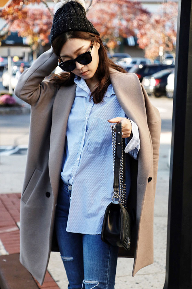 Barneys New York Beanie, The Row Sunglasses, All Saints Coat, Zara Shirt, Chanel Bag, Jeans from DDM Korea