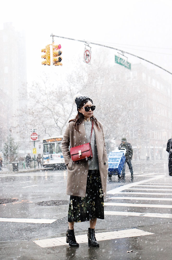 Barneys New York Beanie, The Row Sunglasses, H&M Sweater, Warm Dress, All Saints Coat, Via Spiga Boots, Céline Bag
