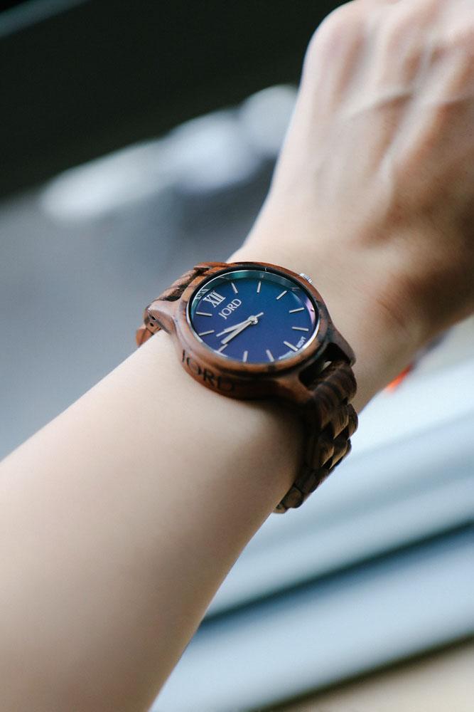 JORD Wood Watch, Frankie 35 Series in Zebrawood & Navy
