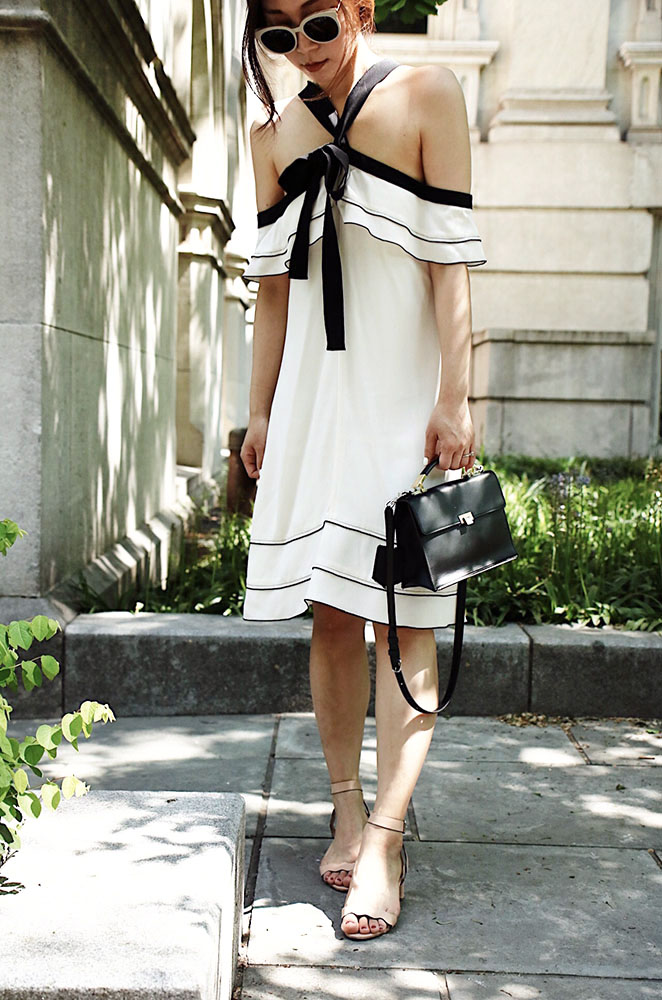 Wearing/ Gentle Monster Sunglasses, Proenza Shouler Dress, Loeffler Randall Shoes, Balenciaga Bag