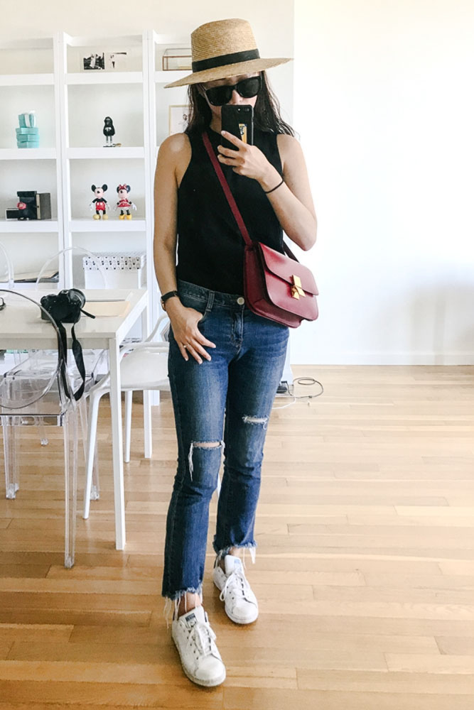 Wearing/ The Row Sunglasses, Janessa Leone Hat, &Other Stories Shirt, Jeans from DDM Korea, Celine Bag, Adidas Sneakers