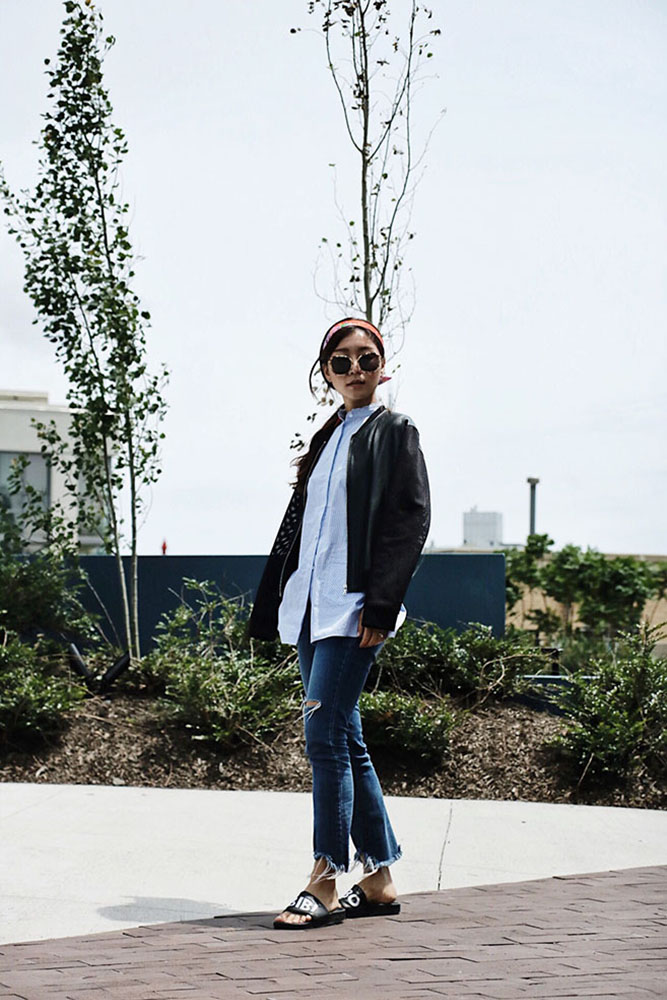 Wearing/ Gentle Monster Sunglasses, Sandro Jacket, Helmut Lang Shirt, Jeans from DDM Korea, Adidas Slippers