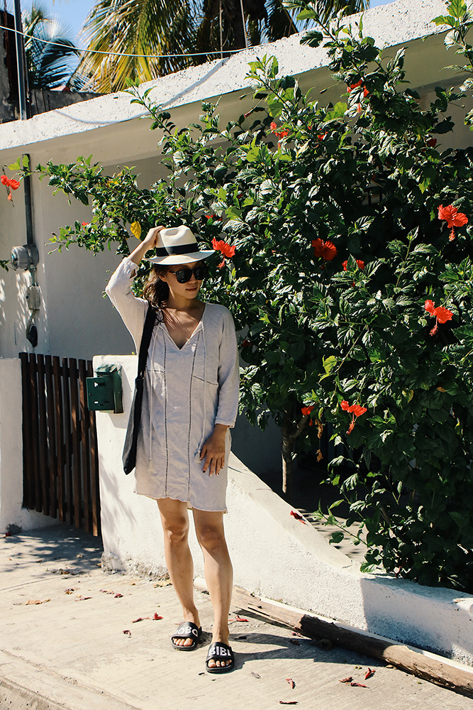 Muji Hat, Zara Dress, Adidas Mi Adilette