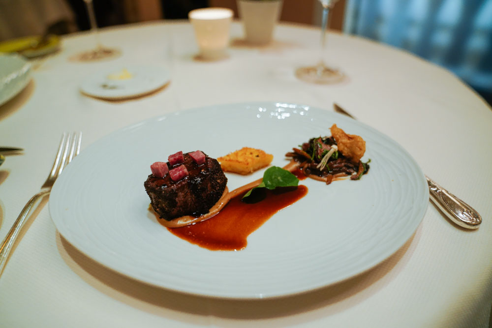 "6th Course:  Boeuf  Scharbauer Ranch Beef Striploin Wild Mushrooms Civet, ""Bordelaise Sauce"" Potato ""Saint-Florentin"""