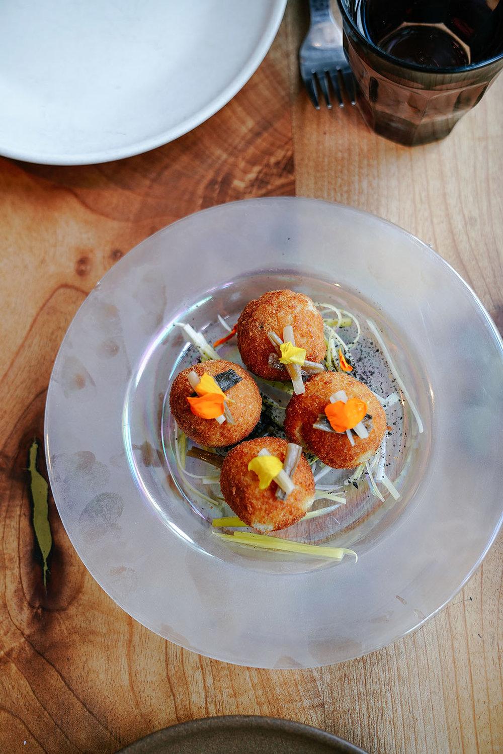 Croqueta |  creamy clam & sea-urchin fritter, pickled ramp, seaweed powder