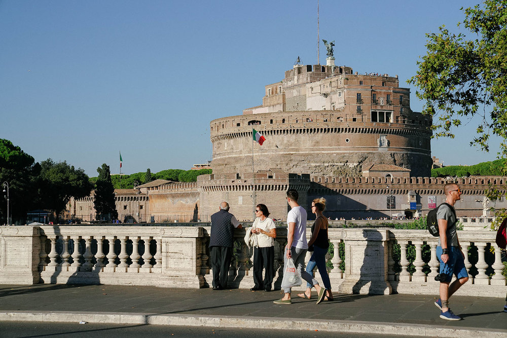 On Ponte Sant'Angelo, looking over Castel Sant'Angelo