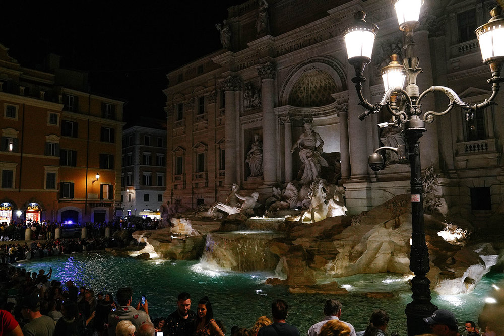 Trevi Fountain at night.  Also super crowded.