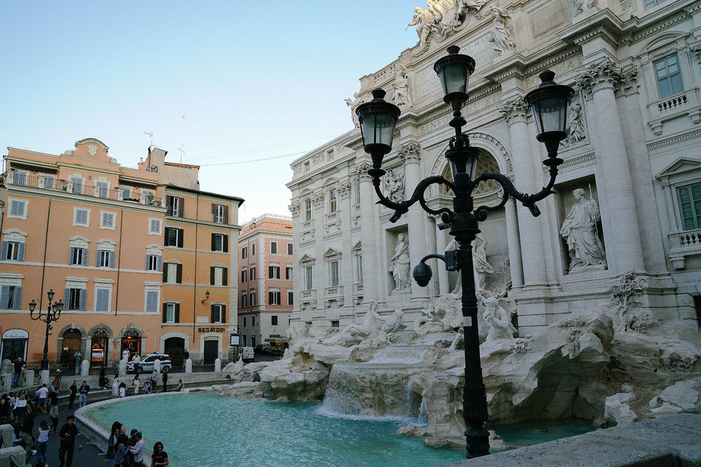 We came back early in the morning for less people at Trevi Fountain.