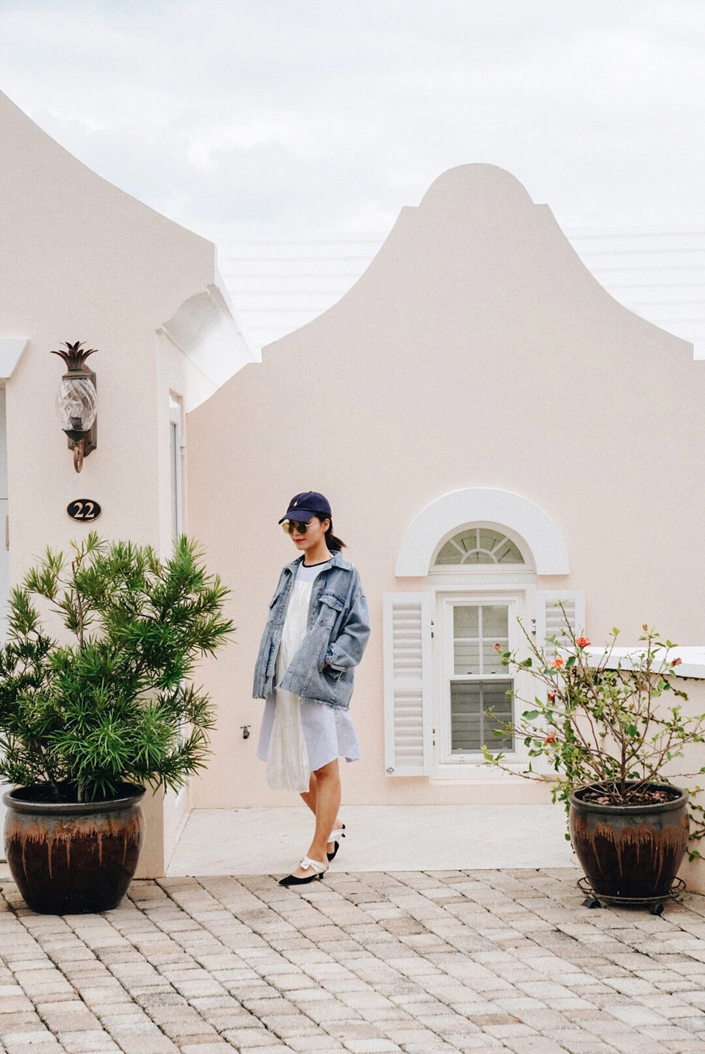Wearing:  Polo Ralph Lauren Cap, NYBK Sunglasses, ALand Denim Jacket, JW Anderson Dress, The Row Mules