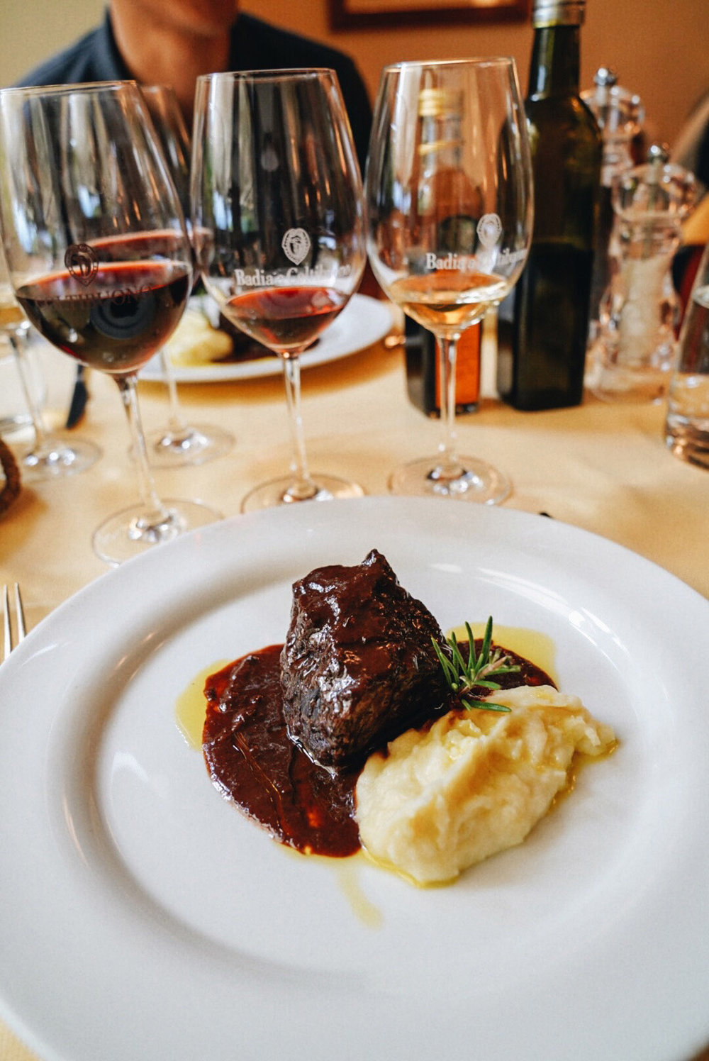 Guancia di manzo brasata in uva sangiovese, puree di patate,  Beef cheek braised in sangiovese grapes, potato puree