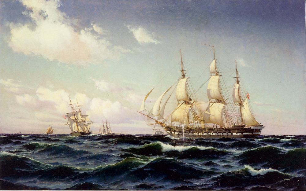 "The frigate ""Fyen"" in a light breeze"